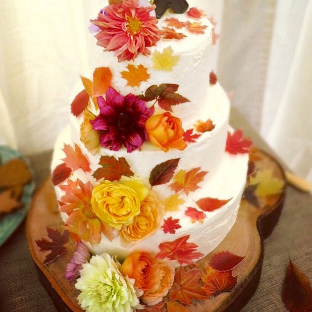 Wicksteads-Eat-Me-Customer-Photo-Custom-Coloured-Autumn-Leaves-Wedding-Cake